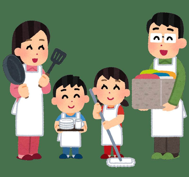 家事育児を分担する家族の画像