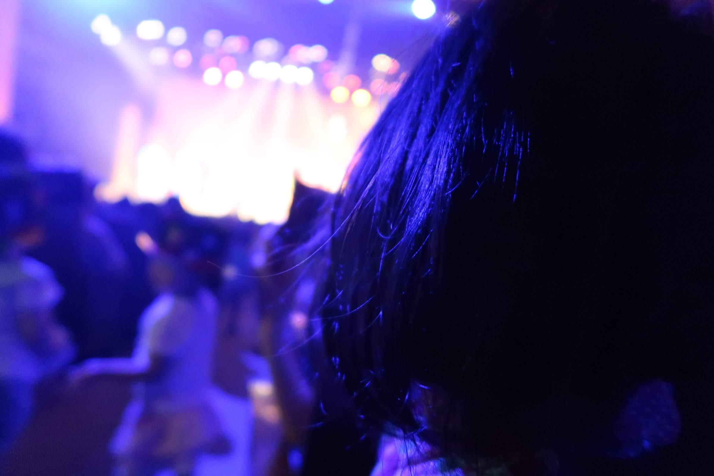 しまじろうコンサートをのめりこんでみている2歳の娘の写真